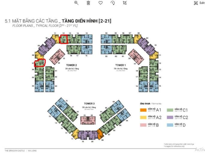 Cần bán căn hộ 2 PN, 2 vệ sinh view hướng Bắc cảng Cái Lân. Dự án Dragon Castle tầng 15 toa 2 ảnh 0