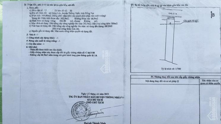 Chính chủ cần bán gấp đất mặt tiền Quốc Lộ 1A - Xã Hưng Lộc - Huyện Thống Nhất - Tỉnh Đồng Nai ảnh 0
