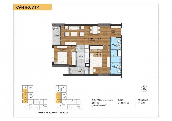 Chung cư The Park Home - Căn 2 phòng ngủ 80.36m2 giá 39tr/m2 full nội thất, vào tên trực tiếp HĐMB ảnh 0