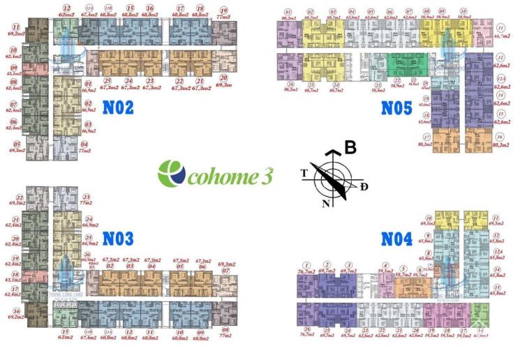 Cần bán nhanh căn 59m2 ban công Bắc tòa NO4 chung cư Ecohome 3, giá bán: 1 tỷ 430tr. LH: 0971285068 ảnh 0