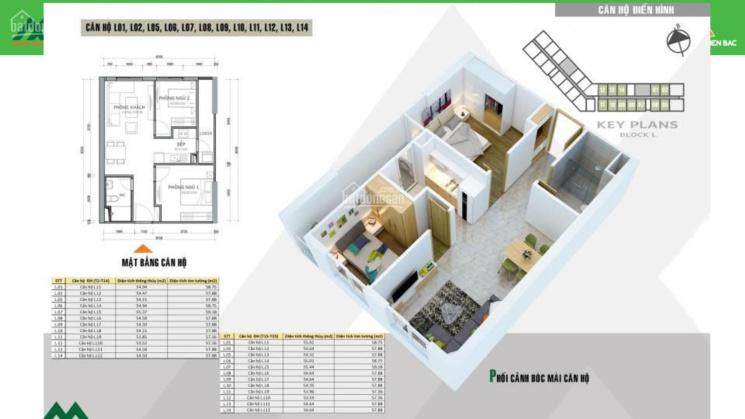 Bán căn hộ 2PN, S = 55m2, giá 1.2 tỷ bao phí, full đồ dự án HH2 Xuân Mai complex Dương Nội ảnh 0