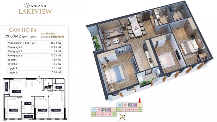 Cần bán căn B04 100m2 3pn/2wc giá rẻ hơn CĐT 500 - 600tr dự án Anland LakeView ảnh 0