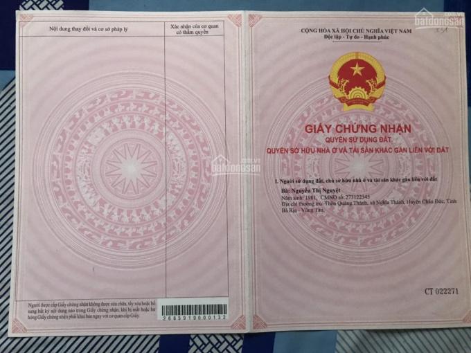 Cần bán 100m2 đất khu vực Long Điền - Bà Rịa Vũng Tàu, SHR 90m2 thổ cư CK 3%. LH: 0908.428.785 ảnh 0