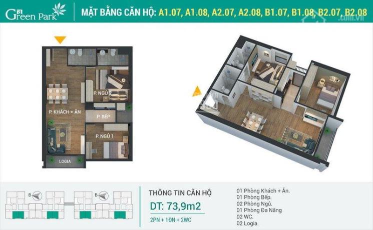 Chỉ cần thanh toán 614 triệu sở hữu căn hộ 02 PN, DT 73,9 m2 miễn gốc lãi 12 tháng sổ hồng vĩnh ảnh 0
