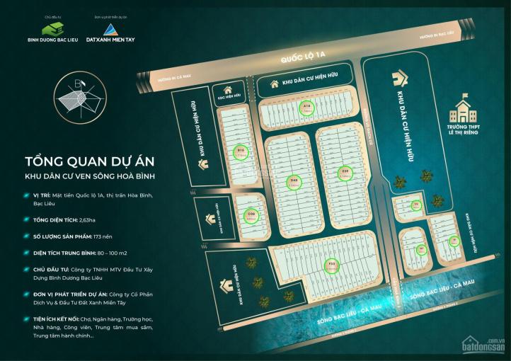 Đất nền dự án khu dân cư ven sông Hoà Bình mặt tiền Quốc Lộ 1A giá đầu tư giai đoạn đầu ảnh 0