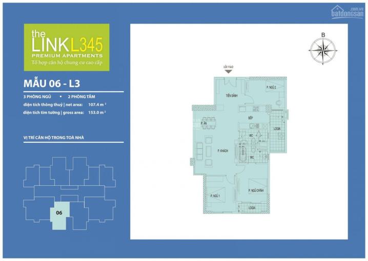 Bán căn hộ 3PN The Link 345 Ciputra, KM tới 15% GTCH, hỗ trợ LS 0% trong 24 tháng. LH 0983650098 ảnh 0
