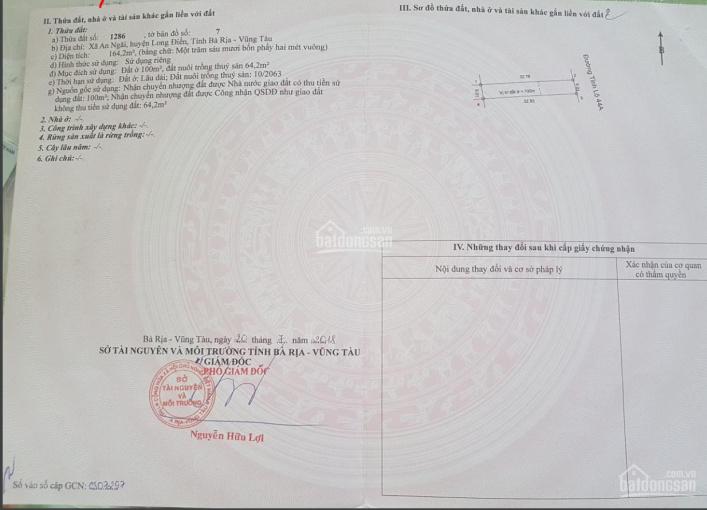 Chính chủ Bán đất mặt tiền tỉnh lộ 44A, 2 Long Điền Gần đường cao tốc ra sân bay Long Thành ảnh 0