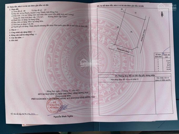 Bán gấp lô 2 mặt tiền đường nhựa 12m sát KCN Tam Phước, Long Thành, ĐN. Có sổ riêng, thổ cư full ảnh 0