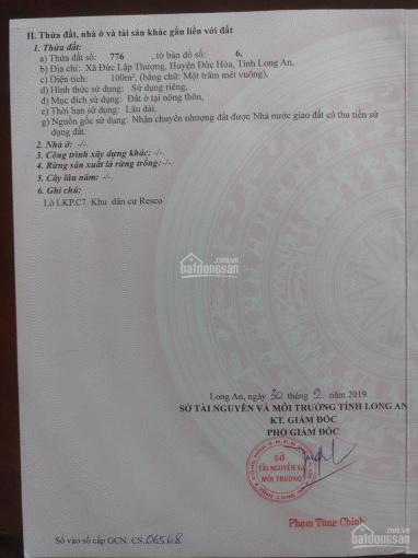 Lô đất KDC Resco đã có sổ hồng 100m2 Đức Hoà, Cần tiền bán gấp ảnh 0