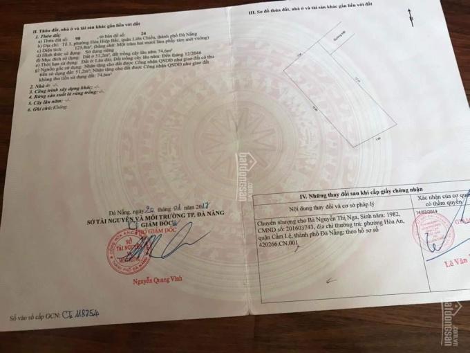 Bán 126m2 đất kiệt Nguyễn Văn Cừ, Hòa Hiệp Bắc giá 950 triệu, sổ hồng riêng ảnh 0