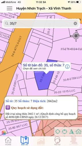 Cần bán lô đất lúa cặp đường Nguyễn Hữu Cảnh, Vĩnh Thanh, Nhơn Trạch, Đồng Nai. Diện tích 2662m2. ảnh 0