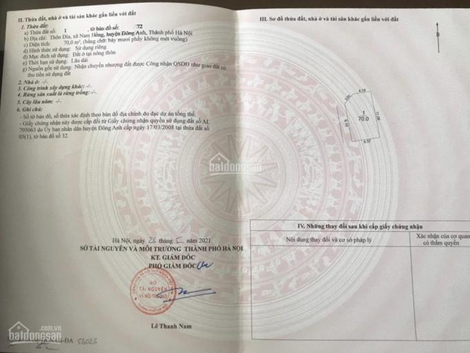 Chính chủ cần bán mảnh đất lô góc 70 m2 thôn Đìa - Nam Hồng, Đông Anh, Hà Nội ảnh 0
