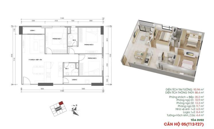 Chính chủ nhượng bán căn hộ 3PN tòa DV02 nhận nhà ở luôn dự án Rose Town giá 2 tỷ 3, LH 0978079652 ảnh 0