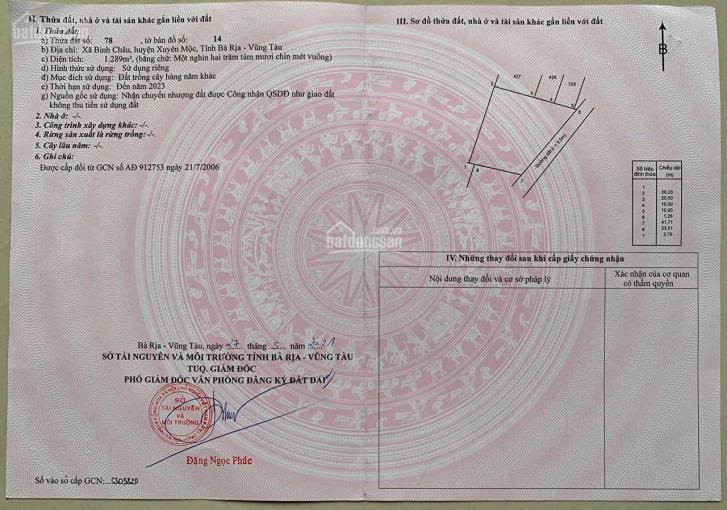 Bán lô đất ở phủ hồng 100% gần Irelax Bangkok Bình Châu, S: 1439m2 có 49m mặt tiền, giá 3.6 tr/m2 ảnh 0
