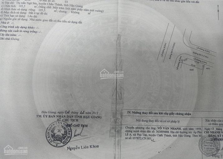 Bán nền góc trung tâm Ngã Sáu, Châu Thành, hậu giang - 3.5 tỷ ảnh 0