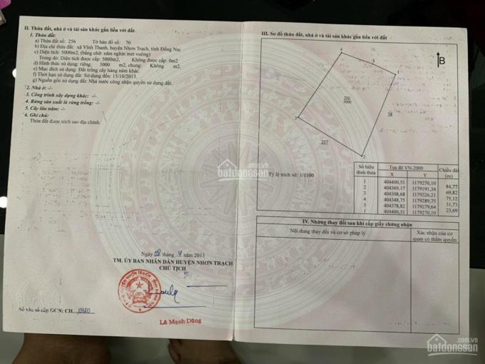 Kẹt tiền chính chủ gửi bán lô đất tại xã Vĩnh Thanh, huyện Nhơn Trạch, tỉnh Đồng Nai, giá cực rẻ ảnh 0