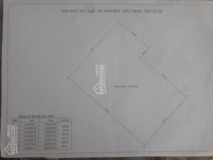 Cần bán gấp đất xóm Mới Bãi Thơm Phú Quốc DT 10,7ha giá 5,7 tỷ/ha ảnh 0