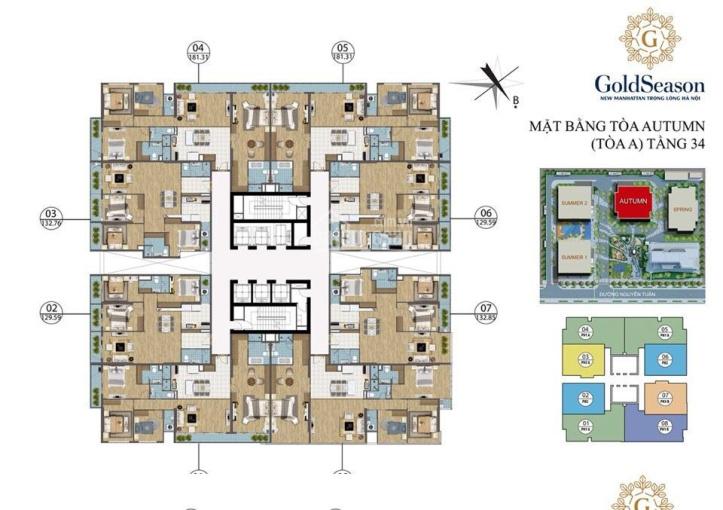 Cần bán căn hộ hoa hậu 124 m2 ban công Đông Nam 3pn, 2wc full nội thất Goldseason: LH: 0869947200 ảnh 0