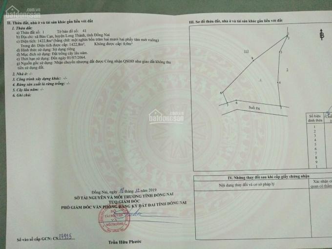 Chính chủ cần ra đi miếng đất mặt tiền đường DT 7412m2 ở Bàu Cạn, LH 0912.648.306 ảnh 0