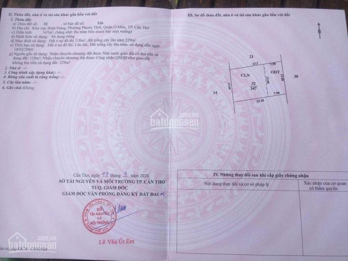 Bán đất 347m2 giá rẻ Phường Phước Thới, Quận Ô Môn, TP. Cần Thơ ảnh 0