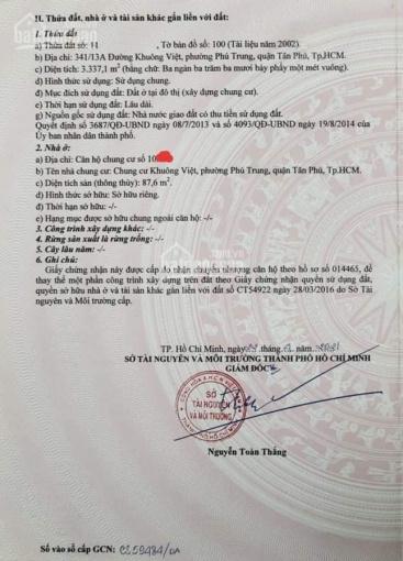 Chủ nhà bán căn hộ còn mới Khuông Việt 3 phòng ngủ có sổ hồng ảnh 0