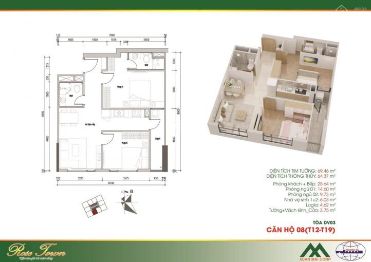 Chuyển công tác bán lỗ căn 1508 - 2PN - 65m2 tại Rose Town 79 Ngọc Hồi giá 1.73tỷ. LH 0966253193 ảnh 0