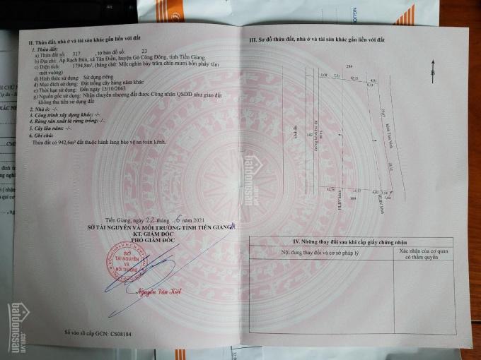 Bán đất mặt tiền đường đá bi 6m Tiền Giang. 220tr ảnh 0