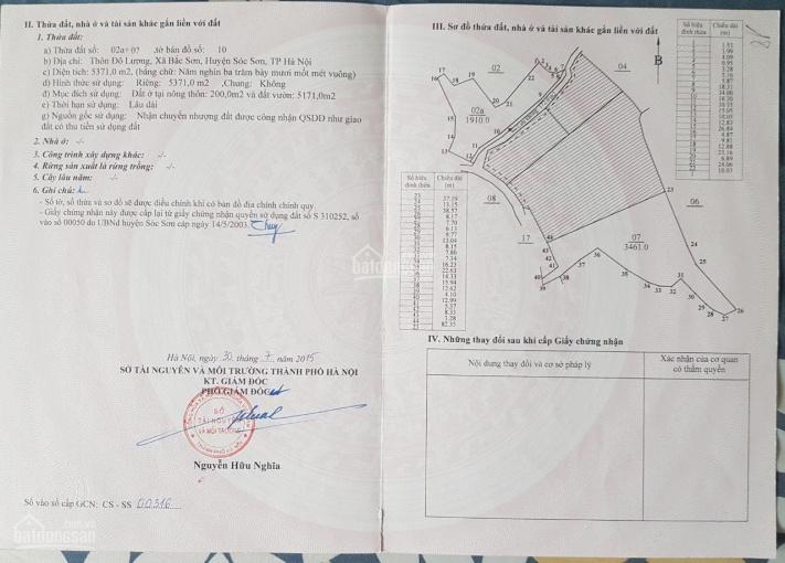 Bán đất Sóc Sơn - giá rẻ - 5371m2 - giá chỉ 2,65 tỷ - LH: 0988 290 252 ảnh 0