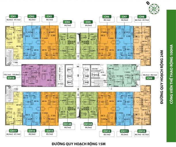 Chính chủ cần bán tầng 1810 chung cư Phú Thịnh Green Park, DT 86m2, 3PN, giá 2,35 tỷ, 0961 000 870 ảnh 0