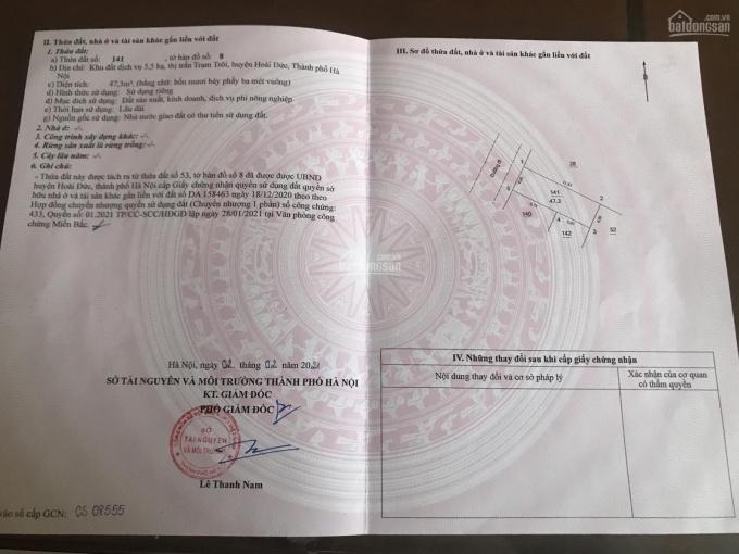 Chính chủ cần bán 47.3m2 đất dịch vụ Trạm Trôi, Hoài Đức, Hà Nội, sát khu đô thị Lideco ảnh 0