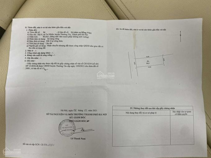 Chính chủ bán mảnh đất 80m2 tại huyện Thường Tín Hà Nội giá 16,5tr/m2 bảo đảm xem là mê ngay ảnh 0