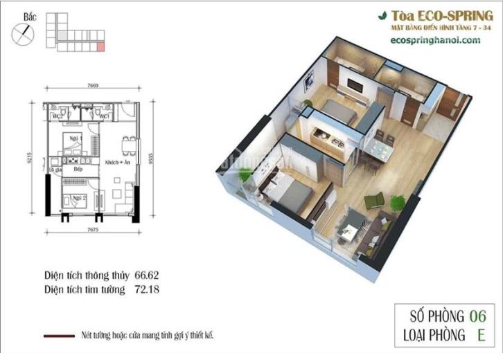Bán căn góc 72m2 2 phòng ngủ, 2 vệ sinh Eco Green City 286 Nguyễn Xiển ảnh 0