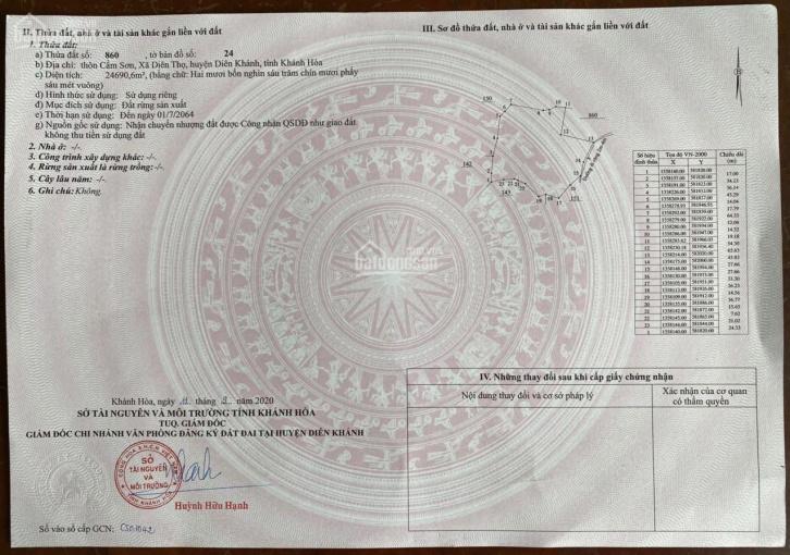 2,5 hecta CLN Diên Thọ, cách Tỉnh Lộ 2 chỉ 30m, giá bán nhanh chỉ 250 k/m2 ảnh 0