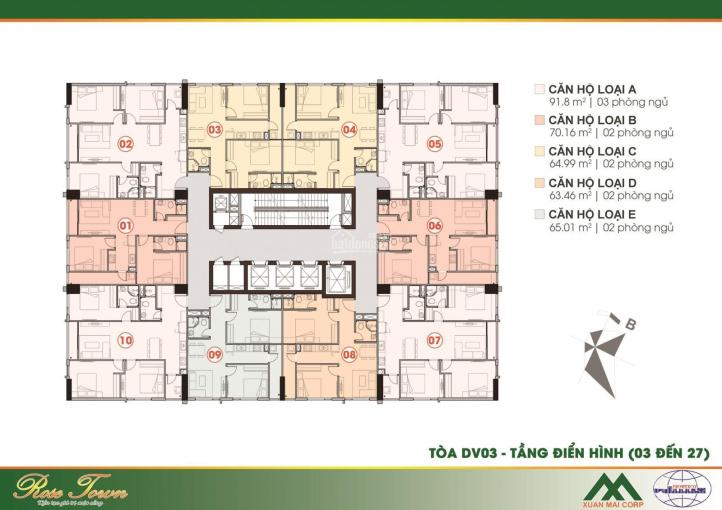 Cần bán suất ngoại giao căn hộ 2PN 65m2 tòa DV03 ban công Đông Nam ảnh 0