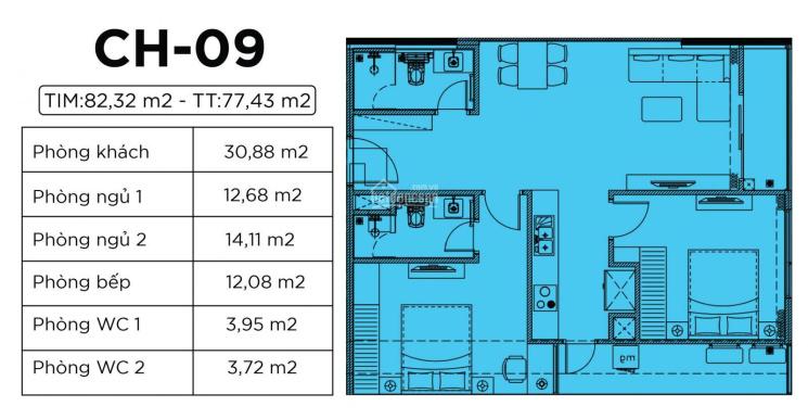 Nhượng lại căn hộ 2PN 77m2 thông thủy ban công Đông Bắc dự án Harmony Square 199 Nguyễn Tuân ảnh 0