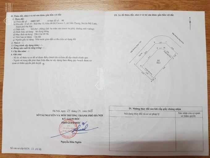 Thu hồi vốn tôi cần bán đất biệt thự Cienco 5 Mê Linh 300m2, mặt tiền 15m, giá 16tr/m2. 0928095888 ảnh 0