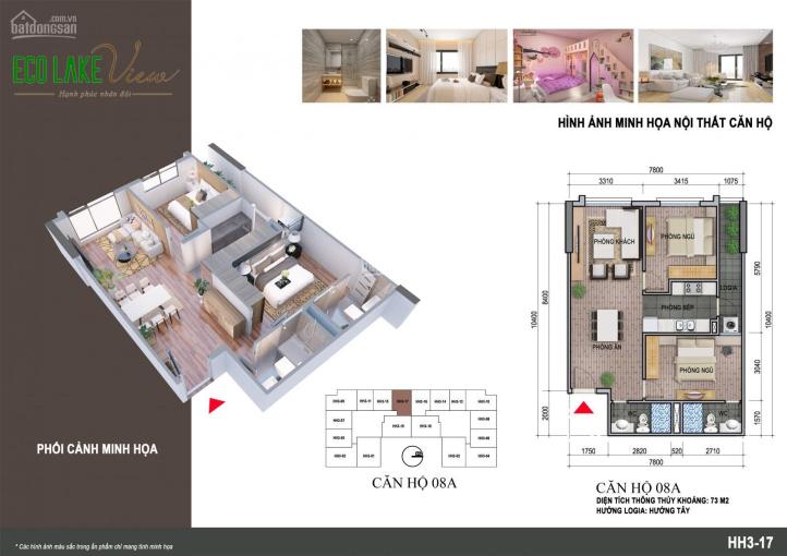 Chính chủ cần bán căn hộ 2 phòng ngủ A08, 80m2 tòa HH3 Chung cư Eco Lake View, 32 Đại Từ ảnh 0