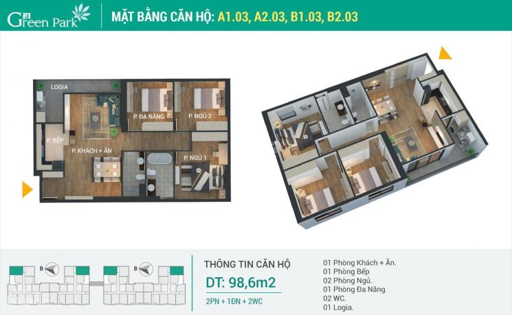 Chỉ 2.66 tỷ sở hữu căn hộ 98.6m2 tại Phương Đông Green Park ảnh 0