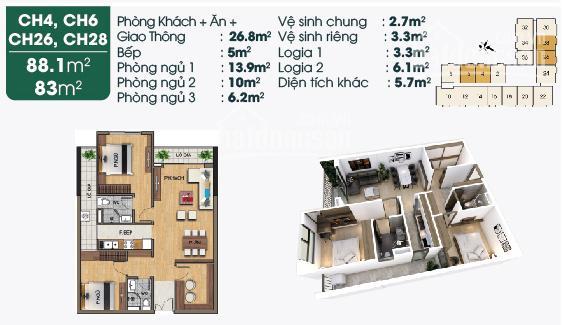 Chính chủ cần bán căn hộ 3 phòng ngủ, 83m2, 2.3 tỷ, ban công Đông Nam, KĐT Sài Đồng ảnh 0