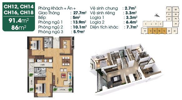 Cần bán gấp căn ngoại giao 3 PN, 86m2, giá 2,3 tỷ, dự án Lotus Sài Đồng ảnh 0