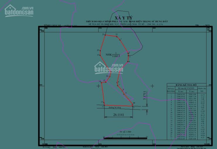 Cần bán bảnh đất 1160m2 Lao Chải 2, xã Y Tý (Sapa 2) có 818m2 đất ở ảnh 0