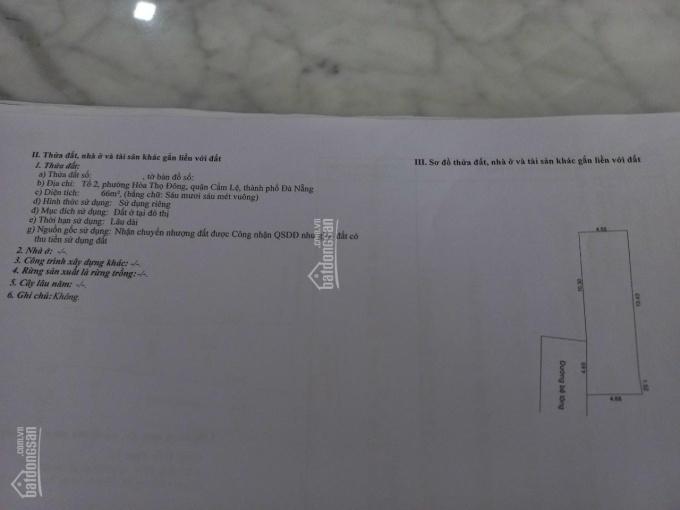 Bán đất kiệt 4m Trần Ngọc Sương - Hoà Thọ Đông - Cẩm Lệ, giá tốt ảnh 0