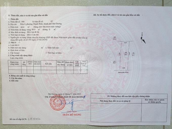 Bán gấp 60m2 đất cực đẹp ngõ ô tô phố Vũ Hựu, P Thanh Bình chỉ 1,42 tỷ ảnh 0